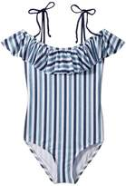 Splendid Littles Tie-Dye Stripe Ruffle One-Piece Girl's Swimsuits One Piece