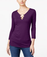 INC International Concepts Petite Embellished Keyhole Top, Only at Macy's