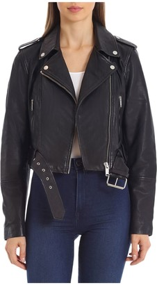 AVEC LES FILLES Cropped Lamb Leather BikerJacket