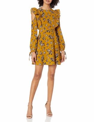 Moon River Women's Cold Shoulder Mini Print Dress