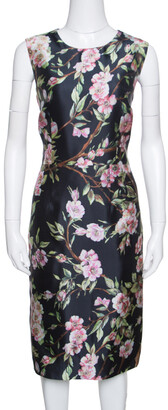 Dolce & Gabbana Black Floral Print Sleeveless Dress M