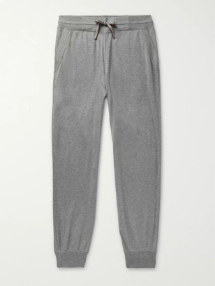 Loro Piana Portland Tapered Melange Cashmere And Silk-Blend Sweatpants