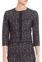 St. John Jacquard Knit Three-Quarter Sleeve Cardigan