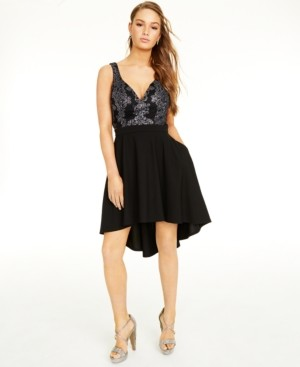 Speechless Juniors' Sparkle-Embellished High-Low Dress