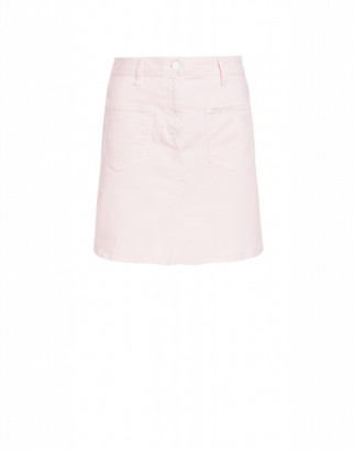 Love Moschino Denim Skirt With Hearts Woman Pink Size 38 It - (4 Us)