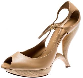 Casadei Beige Leather Peep Toe Ankle Strap Sculpted Heel Platform Sandals Size 40