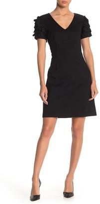 Trina Turk Deb Applique Sleeve V-Neck Dress