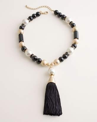 Chico's Chicos Black and White Faux-Pearl Tassel Necklace