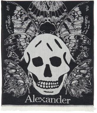 Alexander McQueen Black and White Butterfly Scarf