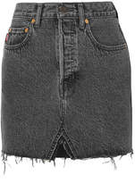 Vetements Levi's Frayed Denim Mini Skirt - Black