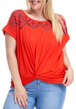 Fever Trendy Plus Size Knot Front Embroidered T-Shirt