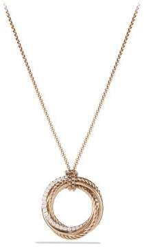 David Yurman Crossover Pendant Necklace With Diamonds In 18K Rose Gold