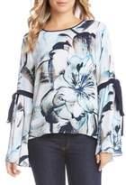 Karen Kane Abstract Floral Print Bell Sleeve Top