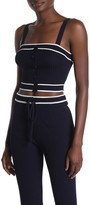 Emory Park Front Button Knit Crop Tank Top