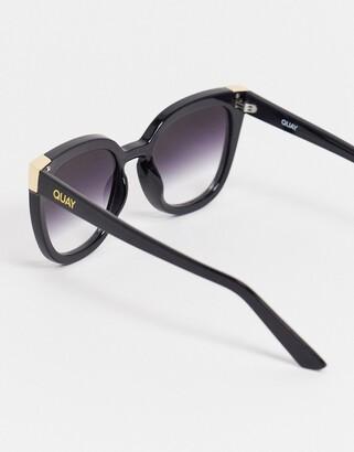 Quay Noosa Metal womens oversized cat eye sunglasses in black