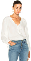 Frame Crepe Lace Up Shirt in White.