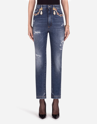 Dolce & Gabbana High-Waisted Jeans With Pearls And Embellishments