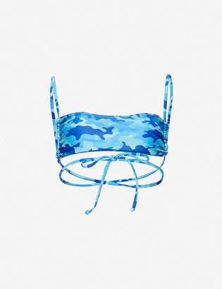Dipped In Blue Jade camo-print bandeau bikini top