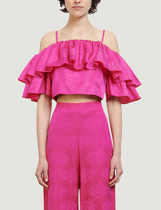 Sandro Hally cropped ruffled jacquard top