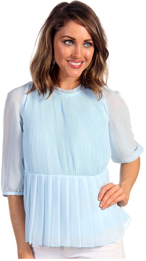 Ted Baker Ninah Gathered Sleeve Micro Pleat Top (Baby Blue) - Apparel