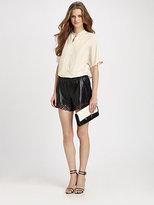 Diane von Furstenberg Andi Laser-Cut Leather Shorts
