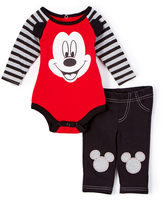 Children's Apparel Network Red & Black Mickey Mouse Bodysuit & Pants - Infant
