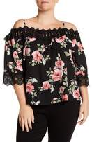 Amy Byer Off-the-Shoulder Crochet Lace Trim Floral Print Blouse (Plus Size)