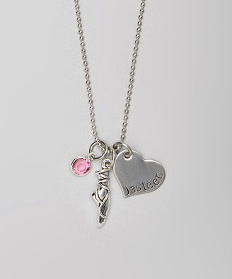 Swarovski Pebbles Jones Kids Girls' Necklaces Silver - Birth Month Slipper Personalized Necklace with Crystals