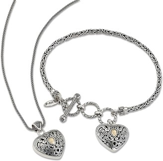 Samuel B. Sterling Silver & 18K Yellow Gold 2-Piece Balinese Heart Pendant Necklace & Charm Bracelet Set