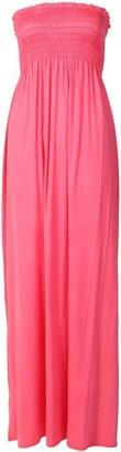 Crazy Girls Womens Plain Sheering Boob Tube Bandeau Maxi Dress - purple - 14-16