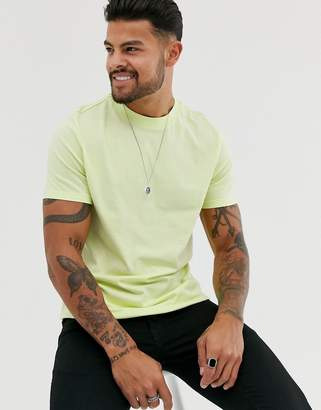 Asos Design DESIGN organic t-shirt with crew neck in pale yellow-Green