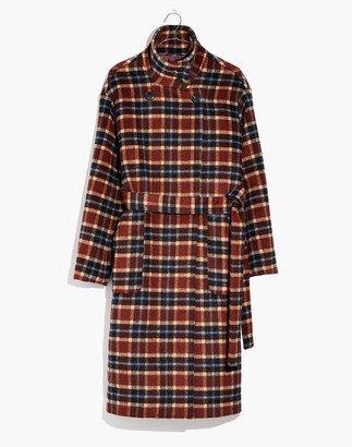 Madewell Plaid Long Belted Coat
