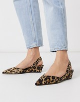 Who What Wear Marsella single wedge shoes in leopard