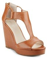 Kenneth Cole Hayley Leather T-Strap Wedge Sandals