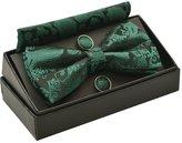 Alizeal Men's Paisley Bow Tie& Hanky& Cufflinks Set