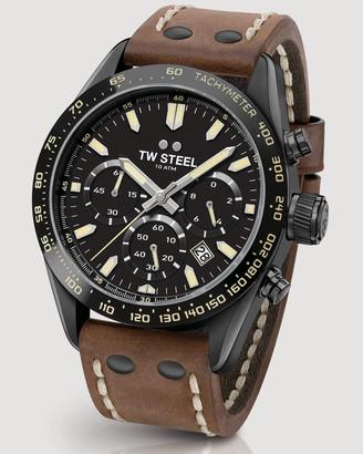 TW Steel Chrono Sport Retro Black Dial Dark Brown Strap 46 mm