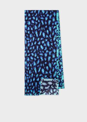 Paul Smith Navy 'Leopard Contrast' Print Scarf