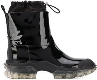 Moncler Drawstring Detail Transparent Sole Rain Boots