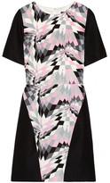 Printed silk and linen-blend dress
