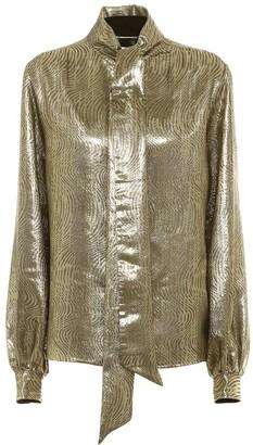 Saint Laurent Silk-blend lame blouse