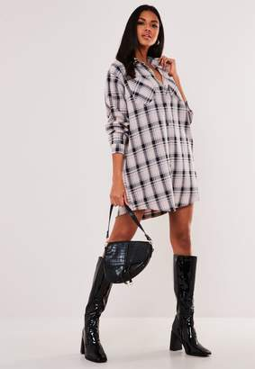 Missguided Pink Oversized Check Shirt Dress