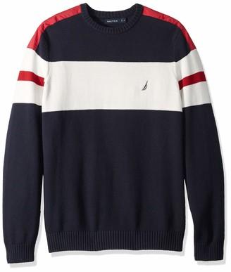 Nautica Men's Big Challenger Crewneck Stripe Sweater