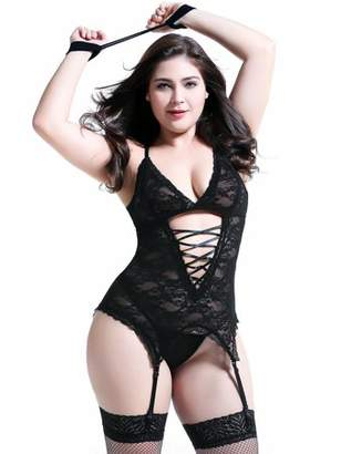 Anyou Plus Size Lingerie Sets Stretchy Lace Women Lingerie Chemise Nightwear Black X-Large
