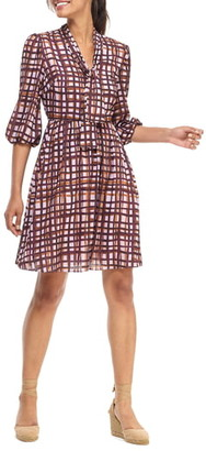 Gal Meets Glam Lindsey Painted Windowpane Tie Neck Dress