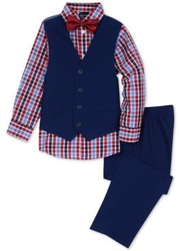 Nautica Toddler Boys 4-Pc. Check-Print Shirt, Vest, Pants & Bowtie Set
