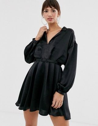 Asos Design DESIGN relaxed shirt mini dress in satin with blouson sleeve and belt-Black