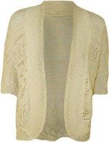 FashionMark Plus Size Women's Crochet Knitted Shrug Cardigan (Stone)