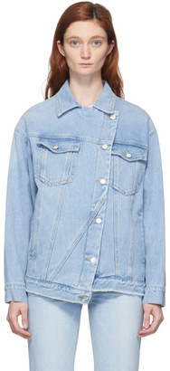Sjyp Blue Asymmetric Denim Jacket
