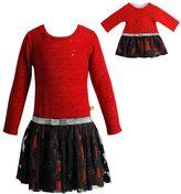 Dollie & Me Girls 4-14 Drop Waist Glitter Dress Set