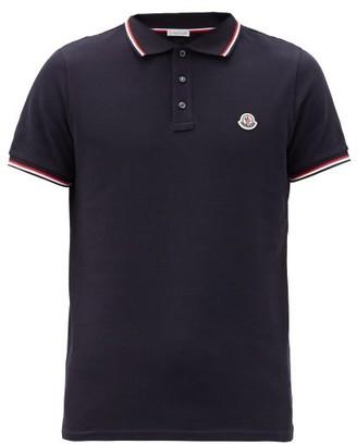 Moncler Logo Patch Cotton-pique Polo Shirt - Navy